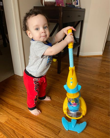 Happy first birthday baby boy 💙🎉 anyone else's kid love #babyshark  I thought we would miss this one with him because Brianna loved it but not this much! He's hooked on this vacuum and I think he may try to sleep with it 🤪🥴🤣🤣  http://liketk.it/38ua2 #liketkit @liketoknow.it