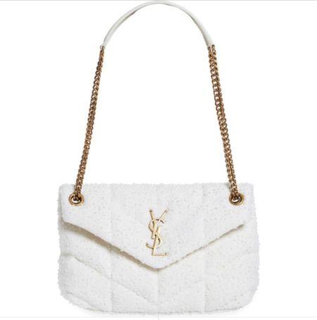 White textured fabric YSL bag, size small.   #LTKworkwear #LTKitbag