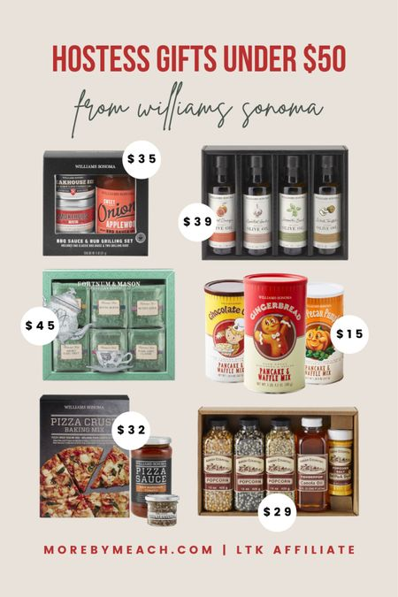 Hostess Gifts Under $50 from Williams Sonoma. 🎅🏼 BBQ gift set, pizza lover gift set, tea lover gift set, popcorn gift set, food gift sets, flavored pancake mix   #LTKHoliday #LTKunder50 #LTKGiftGuide