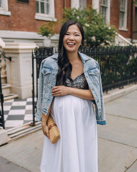 Amazon finds, Amazon fashion, Abercrombie, summer fashion, summer outfit, spring fashion, spring outfit, maternity style: light wash denim jacket (XS), navy floral crop top (S), navy floral bralette, white midi skirt with pockets (S), white skirt with pockets, rattan clutch, tan suede espadrille wedges (6.5 TTS), espadrille flatforms, espadrille mules. @liketoknow.it http://liketk.it/3euYA #liketkit   #LTKunder50 #LTKbump #LTKstyletip