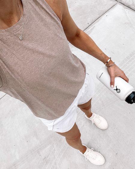 Summer fitness apparel, tank (tts), white shorts (tts) APL sneakers #activewear #fitness #gym http://liketk.it/3hofV #liketkit @liketoknow.it #LTKfit #LTKunder50 #LTKunder100