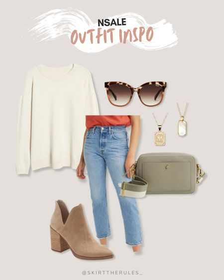Nordstrom Anniversary Sale, NSale, Nordstrom sale: cream sweater, tortoise earrings, gold initial necklace, gold dog tag necklace, light wash ripped straight jeans, sage camera bag, suede cutout booties.   #LTKsalealert #LTKstyletip #LTKunder50