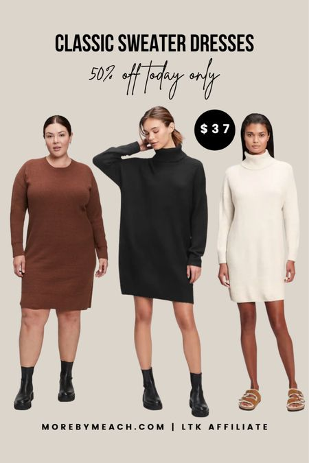 These classic sweater dresses are PERFECT for your fall and winter capsule wardrobe, and they're on sale today for 50% off making them only $37! Petite, tall, and regular sizes are available but selling quick. Click to shop before there gone! (More colors available!) || thanksgiving dresses, petite sweater dress, tall sweater dress, black sweater dress, fall sweater dress, ivory sweater dress, gray sweater dress  #LTKunder50 #LTKsalealert #LTKSeasonal