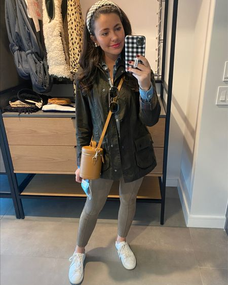 The cutest casual look! Loving these faux spanx ❤️ #suedeleggings #fallstyle #casualfall #barbour #falljacket   #LTKunder50 #LTKunder100