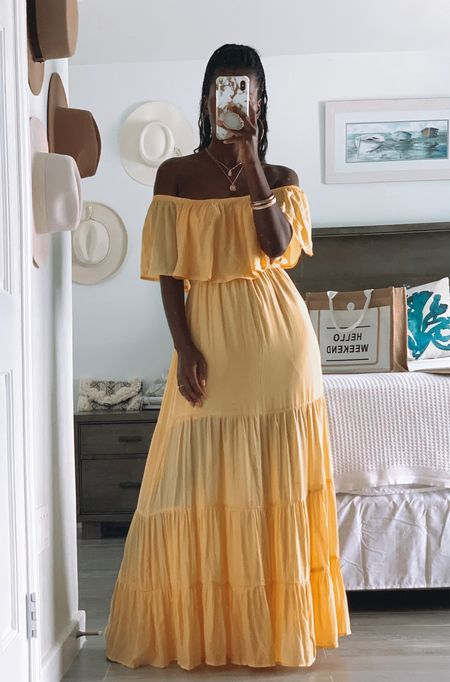 Almost sold out, Available in white as well  Wearing size S,  has plenty of stretch so you could size down.  Summer dresses under $30 Yellow, maxi dress, off shoulder, bump friendly, maternity, bridal Sale  #LTKunder50 #LTKSeasonal #LTKstyletip