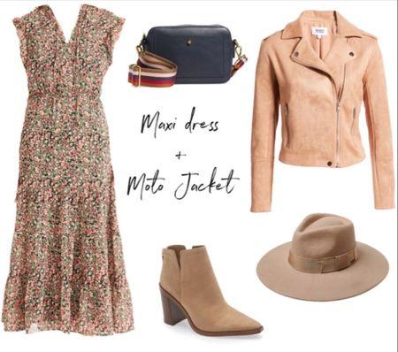 Fall outfit, fall dress, tan jacket, tan booties  #LTKunder100 #LTKSeasonal #LTKshoecrush