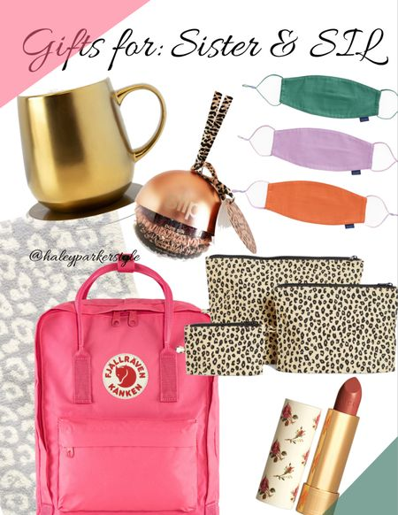 Gifts for Her // Gifts for Sister & Sister-in-Law   Pink backpack // leopard travel bags // Gucci lipstick // warming cup and pad // organic masks // hair scrunchies // barefoot dreams leopard blanket // zippered pouches // holiday gift guide // Nordstrom women's gifts    #LTKunder100 #LTKstyletip #LTKgiftspo @liketoknow.it http://liketk.it/31bH1 #liketkit
