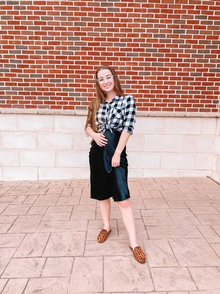 Black and white plaid button down perfect for fall Black slip skirt Cheetah print mules, i size up 1/2 size! All target shoes 20% off!    #LTKbump #LTKstyletip #LTKSeasonal