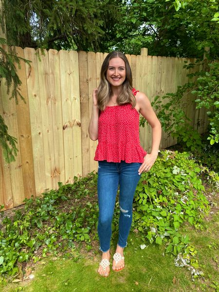 Fourth of July outfit floral blouse mom jeans ripped jeans mom outfit mom style mom hair modest outfit floral top outfit idea summer outfit skinny jeans skinny ripped jeans ripped skinny jeans ripped mom jeans Amazon outfit Amazon top Amazon best selling  #LTKstyletip #LTKunder50 #LTKsalealert