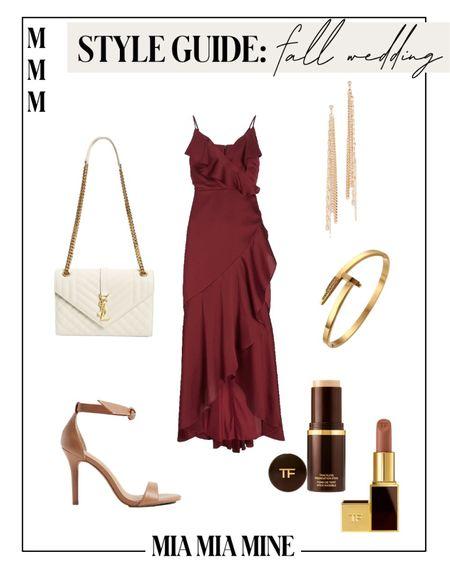 Fall wedding guest dresses - express satin dress, express bow tie heels  #LTKwedding #LTKunder100 #LTKstyletip