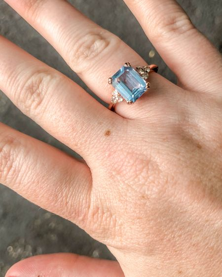 Aquamarine ring http://liketk.it/3jeoZ #liketkit @liketoknow.it March birthstone ring, gemstone, cocktail ring, rectangle ring, rectangle stone