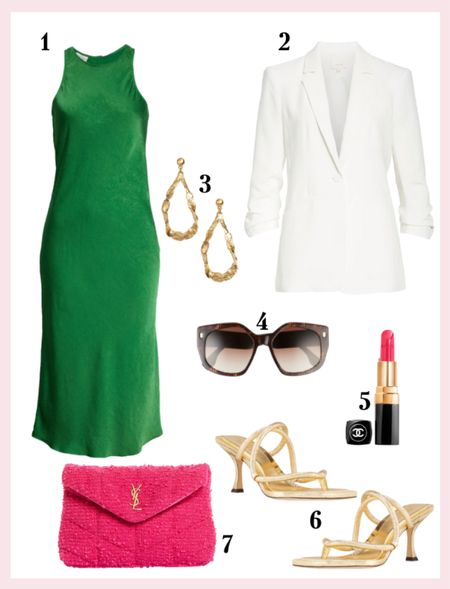 The slip dress that everyone needs! Love the combo of the green and pink   #LTKSeasonal #LTKworkwear #LTKstyletip