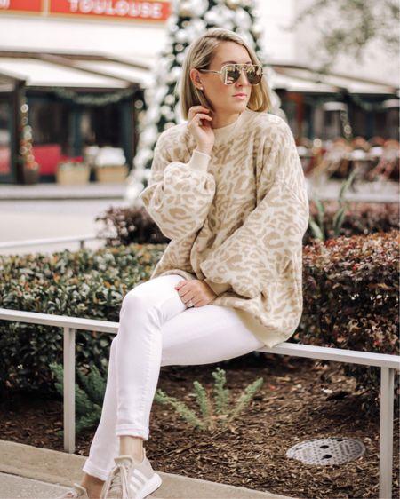 Tunic sweaters, white denim, adidas swift run, sneaker outfit, leopard print sweaters, sweater outfit http://liketk.it/2Fok4 #liketkit @liketoknow.it #LTKstyletip #LTKunder50 #LTKshoecrush