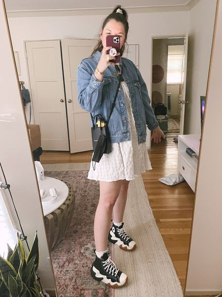 Summer casual outfit, ASOS DESIGN textured cut out back detail mini smock dress with ties in white, Converse Run Star Motion Hi canvas platform sneakers in black, denim jacket, jean jacket from urban outfitters, comfy shoes, Amazon frilly socks, scrunchie, gold jewelry, budget friendly, comfy clothes, comfy shoes, balenciaga crossbody bag,   #LTKunder100 #LTKSale #LTKunder50