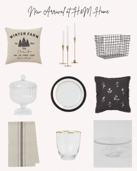 New arrivals at H&M home, home decor, pillows, candlestick, basket, candy dish, cake stand, plates, table runner  Follow me for more ideas and sales.   Double tap this post to save it for later    #LTKSeasonal #LTKhome #LTKunder50