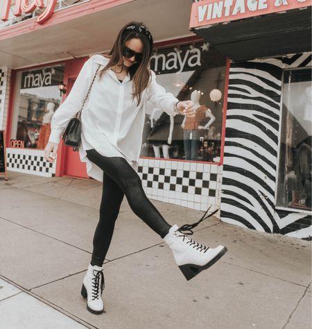 #nsale Rebecca Piersol style, spanx style, Spanx on sale. White button down. White boots on Nordstrom anniversary sale.   #LTKsalealert #LTKstyletip #LTKunder100