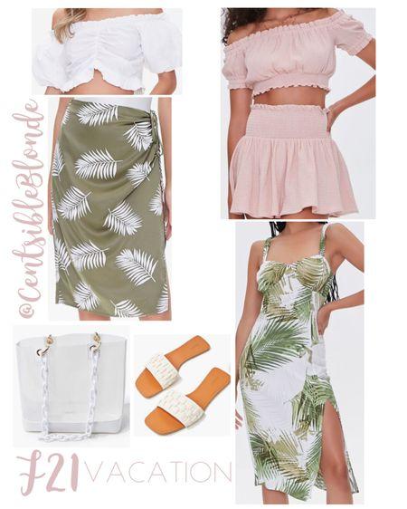 Vacation outfit ideas from forever 21, palm print, skirts, matching set   http://liketk.it/3hwf6 #liketkit @liketoknow.it #LTKunder50 #LTKtravel #LTKsalealert