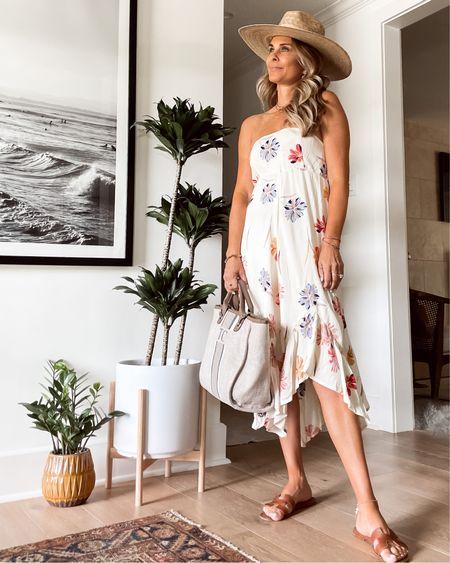 Summer floral strapless dress, personalized tote bag, #liketkit http://liketk.it/3hoz3 @liketoknow.it #LTKunder100 #LTKstyletip #LTKtravel