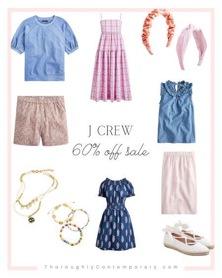 J Crew extra 60% of sale items!   Summer dress   chambray top   floral shorts   j crew   espadrilles   pencil skirt   summer outfit ideas   headband   beaded bracelets   #LTKSeasonal #LTKsalealert #LTKunder50