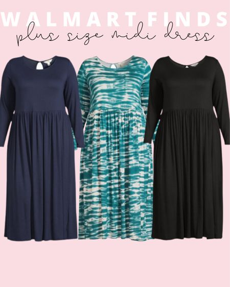 These plus size midi dresses will make perfect plus size fall outfits! They are a plus size fashion Walmart find for just under $20 and can be styled so many ways!   #LTKunder50 #LTKstyletip #LTKcurves