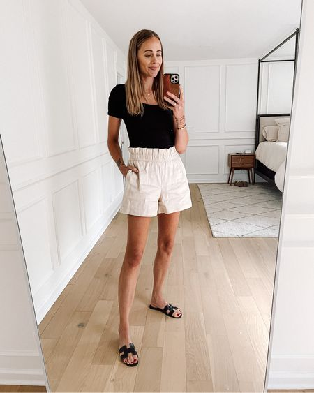 Comfy and chic summer outfit! Bodysuit is #amazonfind (wearing size small) and shorts are express (run big) #amazonfashion #summeroutfit   #LTKunder50 #LTKunder100 #LTKstyletip