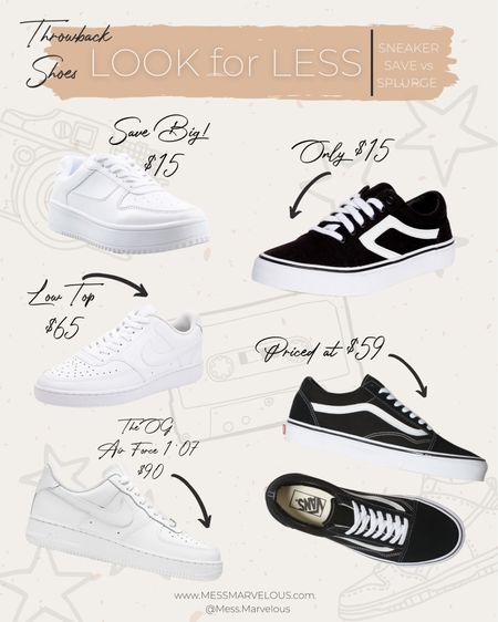 Look for Less: Save vs Splurge on Throwback Sneakers, Vans, Nike Air Force 1, chunky white sneaker, classic look alike shoe options   #LTKunder50 #LTKstyletip #LTKshoecrush