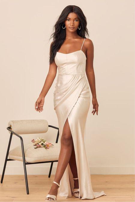 Cream white ivory satin maxi spaghetti strap dress with slit  Engagement session dress Bachelorette dress Rehearsal dinner dress   #LTKunder100 #LTKwedding