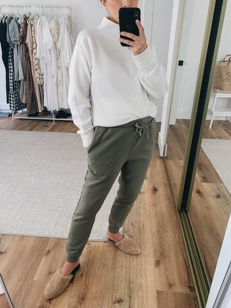 Fall favorites under $200. Petite joggers.   Sweater - Nordstrom xs on sale! Joggers - Frame xs (run big in the waist) Mules - Marc Fisher 5 on sale!    #LTKbump #LTKsalealert #LTKshoecrush