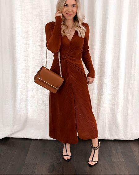 Long sleeve dress, chain heels   #LTKshoecrush #LTKstyletip #LTKunder100