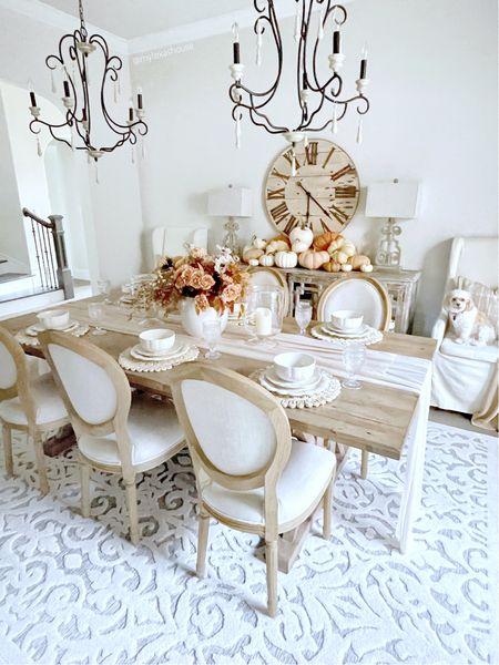 Fall decor dining room  Walmart finds Wayfair farmhouse table Round back RH style chairs Rustic clock Rug  #LTKhome #LTKunder50 #LTKSeasonal