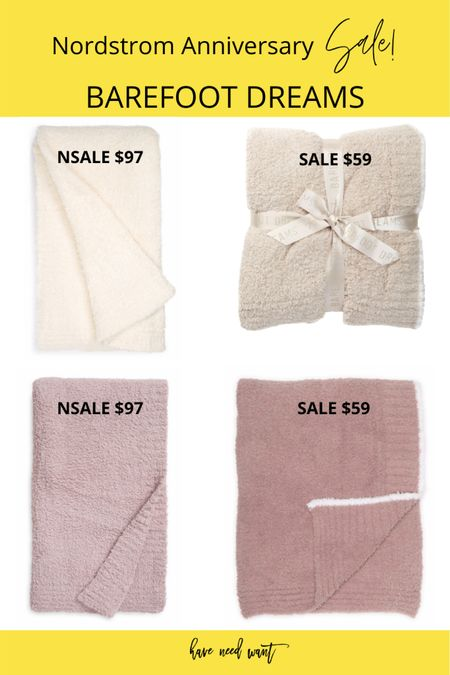Barefoot Dreams blankets included in the Nordstrom Anniversary Sale as well as some Barefoot Dreams blankets on sale at Nordstrom Rack! Almost identical except that the Rack blankets have a cream trim. They all come in loads of color options too!    #LTKsalealert #LTKhome #LTKunder100