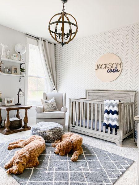 Baby nursery boys room gender neutral kids room rug crib wall sign stencil nightstand rocker recliner pottery barn kids target furniture curtains orb round light fixture  #LTKkids #LTKhome #LTKbump