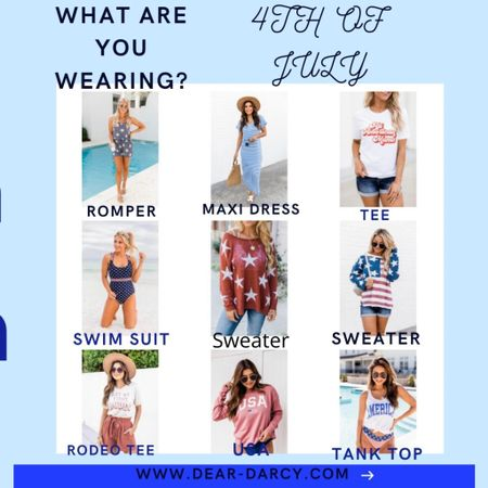 What are you wearing for 4th of July?❤️🇺🇸 . I've got you covered🇺🇸❤️  . . Sweater, tees, tanks, rompers dresses and a swim suit! All perfect for the 4th of July! . . .  Shop my daily looks by following me on the LIKEtoKNOW.it shopping app Download the LIKEtoKNOW.it shopping app to shop this pic via screenshot @liketoknow.it http://liketk.it/3ivG6 #liketkit #LTKunder50 #LTKstyletip