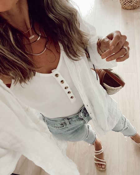 Henley bodysuit (also comes in black) oversized linen coverup for a casual summer outfit with jeans //   #LTKunder50 #LTKstyletip #LTKunder100
