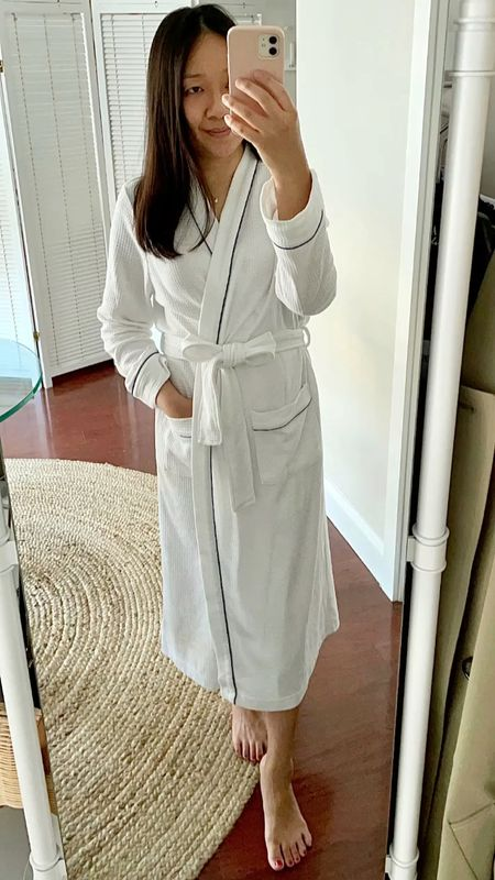 """Waffle knit texture bathrobe (I took size XS and I'm 5' 2.5"""") which was a gifted item from Amazon. Not too thick so it's a comfortable weight across seasons.  #LTKunder50 #LTKunder100"""