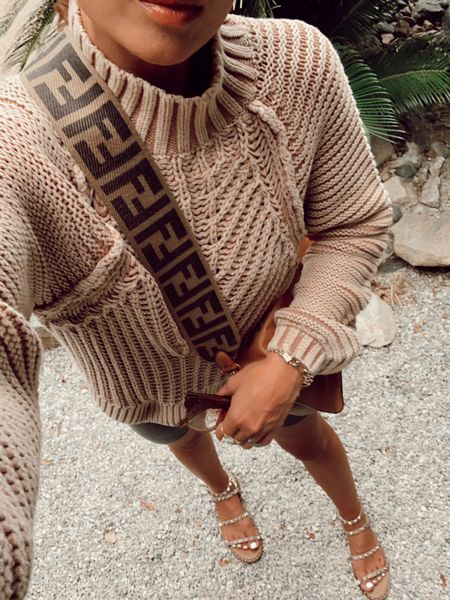 Free people sweater, bike shorts fall outfits Fendi bag in large @liketoknow.it #liketkit http://liketk.it/2Yrs4 #LTKunder100 #LTKunder50 #LTKsalealert