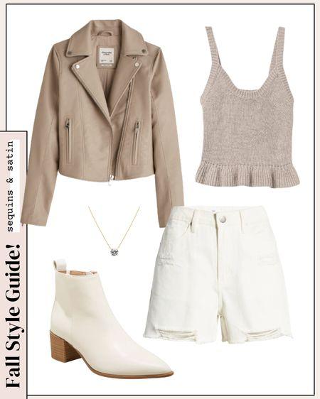 Cute outfit idea for fall! #targetstyle #shorts #jackets #leatherjacket #booties   #LTKstyletip #LTKunder50 #LTKshoecrush