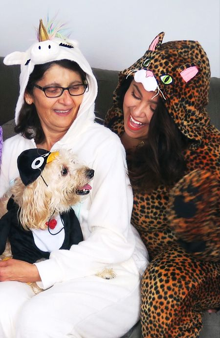 #tbt    This picture makes me smile. Mom didn't want to buy a #onesie. Charlie 🐶 is wishing she wouldn't have listened to me. 😂    PJ's are from @targetstyle Double tap 💙💙 for links sent to you inbox. 📩 #liketkit  #unicorn #leopard #dog #penguin #petcostume #familyphoto #threegenerations #goofballs  @liketoknow.it http://liketk.it/2pzS1