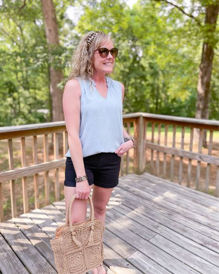 Time and tru sleeveless chambray denim top size small / time and tru mid rise core size 4 fits TTS / straw purse bag / Tory Burch biller sandals size 1/2 size down / Walmart fashion / style / outfit http://liketk.it/3g1Gv #liketkit @liketoknow.it #LTKunder50 #LTKstyletip #LTKshoecrush