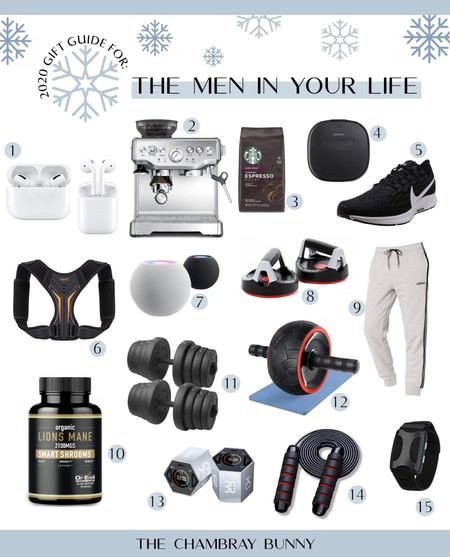 Holiday gift guide for men! Espresso machine, fitness gear, at home workout, apple AirPods on sale, Bose speaker, Bluetooth, weights, Nike sneakers, Nike shoes, Starbucks   #LTKsalealert #StayHomeWithLTK #LTKmens