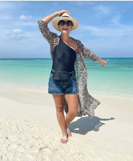 Easy look for the beach - I sized up one size to 6 in suit and one size to 6 in the shirts. Leopard kimonos linked are similar ones. #justpostedblog #ShopStyle #shopthelook #MyShopStyle #OOTD #LooksChallenge #ContributingEditor #Lifestyle   #LTKfamily #LTKtravel #LTKstyletip