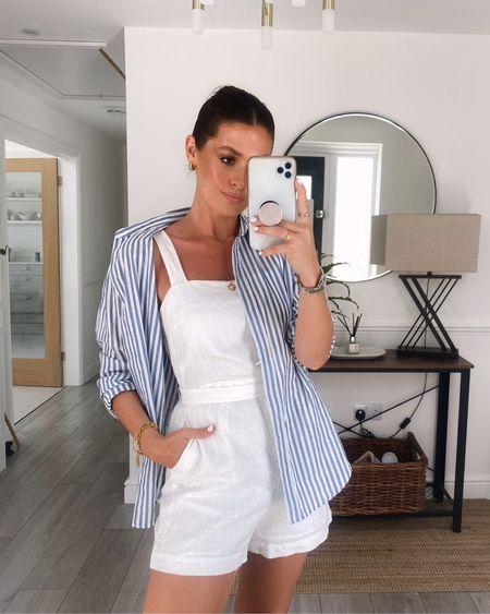 Simple summer style  Sizes  White linen playsuit 36 blue & white stripe cotton shirt 2
