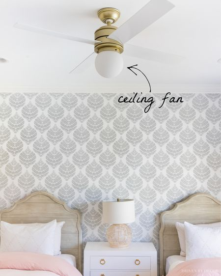 This ceiling fan with light is a stylish addition to my girls' bedroom! (home decor ideas)  #LTKhome #LTKunder50 #LTKunder100