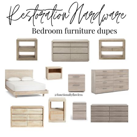 Restoration Hardware bedroom furniture dupes. Modern dressers. Modern nightstand. Modern bed. Master bedroom furniture. RH modern. Light wood furniture. Gray wood furniture.    #LTKhome #LTKstyletip