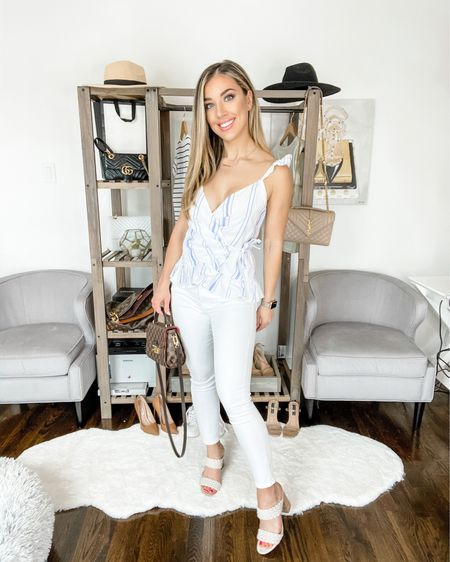 4️⃣ WAYS TO STYLE WHITE JEANS THIS SUMMER ☀️// LOOK 2: BRUNCH / DAYTIME Found this striped blue top and instantly fell in love! It's flattering at the waist and the twisted slides are all the rage this summer. http://liketk.it/3h6rx #liketkit @liketoknow.it