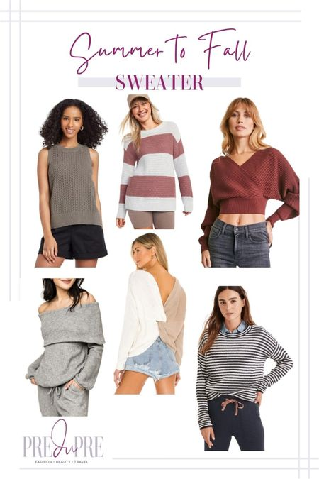 Transition your favorite summer outfits into the fall season with these five pieces. Read how to do easy-peasy season style changes on the blog www.predupre.com  http://liketk.it/3mWwc  Sweater, off shoulder sweater, striped sweater, crop top sweater, summer to fall, fall outfits, fall outfit ideas, fall looks, transition pieces   #LTKstyletip #LTKSeasonal