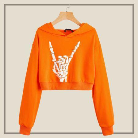 Skeleton hand print crop hoodie sweater   #LTKunder100 #LTKunder50 #LTKstyletip