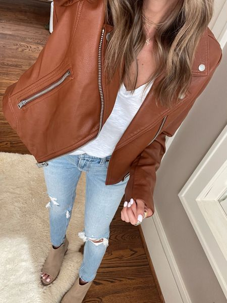 Moto jacket size Xs, Jeans size 24 short   #LTKunder100 #LTKsalealert #LTKunder50