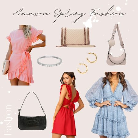 Amazon spring fashion | amazon dresses | amazon accessories | amazon handbags | amazon crossbody | accessories | earrings | huggie earrings | hoop earrings | stackable rings | baguette bag |  #LTKunder50 #LTKSeasonal #LTKitbag