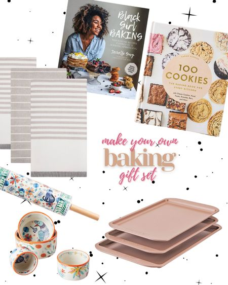 Make your own baking gift basket / set. Rose gold cookie sheets, cute measuring cups, baking cookbooks & some cute kitchen towels!   http://liketk.it/31aH3 #liketkit @liketoknow.it #LTKunder100 #LTKgiftspo #LTKhome #ltkholiday